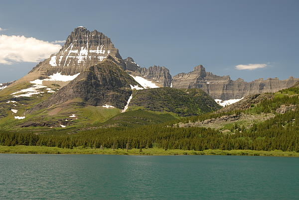 Snow And Water In Glacier National Park Print by Larry Moloney