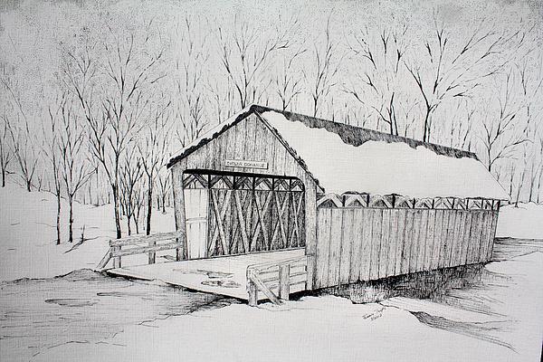 Snow Bridge 2012 Print by Tammie Temple