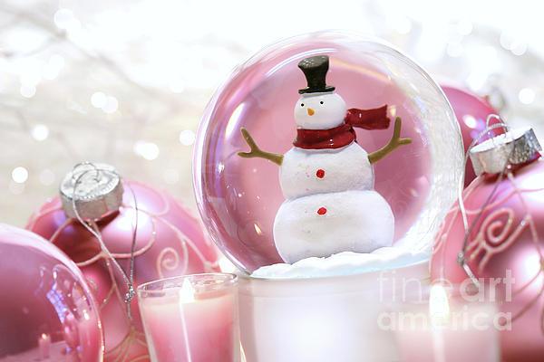 Snow Globe With Pink  Balls  Print by Sandra Cunningham