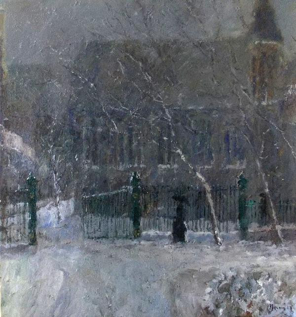 Snow In The Park Print by Malcolm Mason