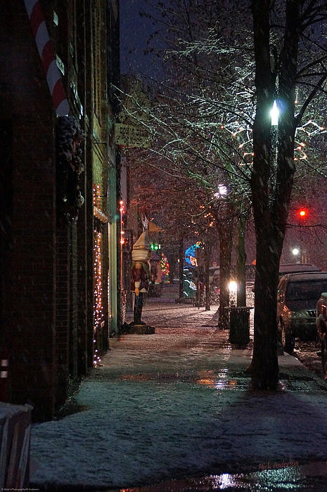 Snow On G Street 2 - Old Town Grants Pass Print by Mick Anderson