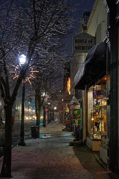 Snow On G Street 3 - Old Town Grants Pass Print by Mick Anderson