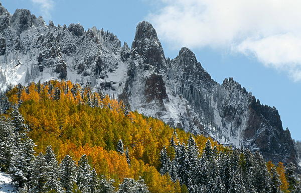 Snow On The San Juan Mountains In Autumn Print by Jetson Nguyen