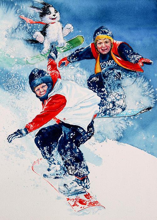 Snowboard Super Heroes Print by Hanne Lore Koehler