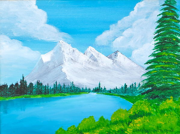 Snowcapped Mountains Print by Artistic Indian Nurse