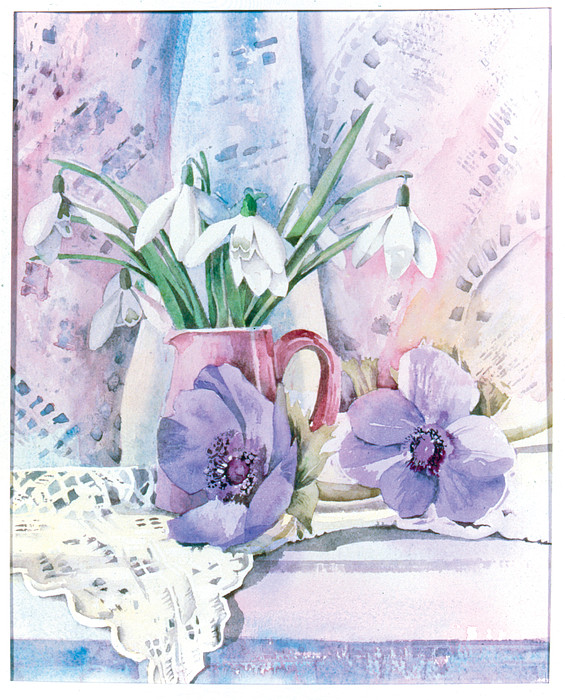Snowdrops And Anemones Print by Julia Rowntree