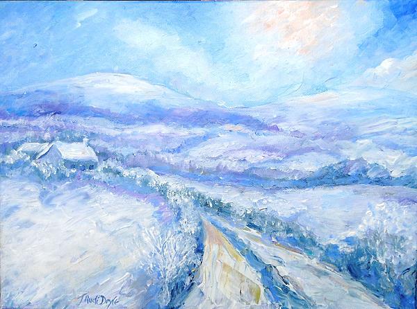 Snowfall On The Laneway  Print by Trudi Doyle