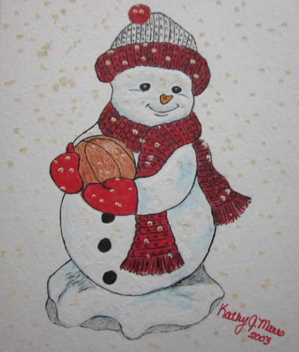 Snowman Playing Basketball Print by Kathy Marrs Chandler