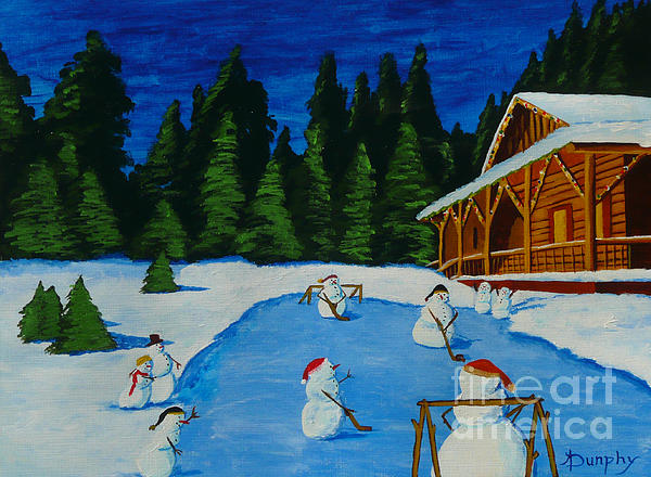 Snowmans Hockey Two Print by Anthony Dunphy