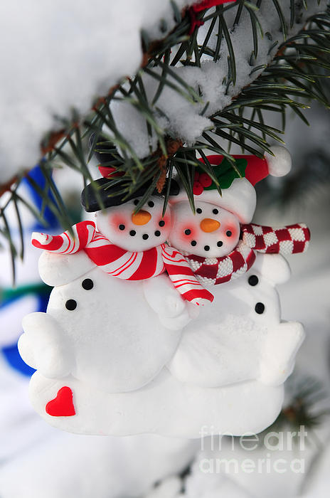 Snowmen Christmas Ornament Print by Elena Elisseeva
