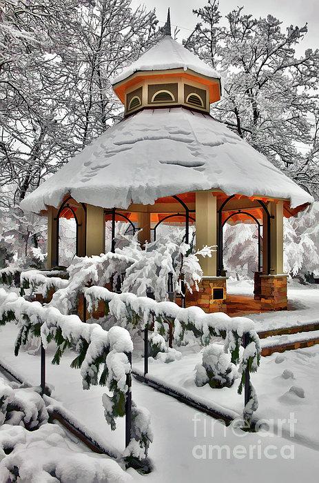 Snowy Gazebo - Greensboro North Carolina I Print by Dan Carmichael