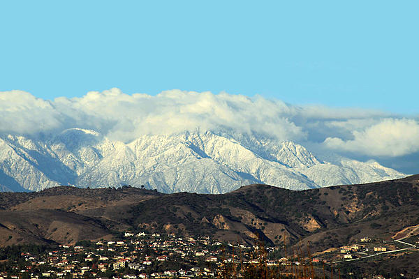 Snowy Mountains Print by Ellen Henneke
