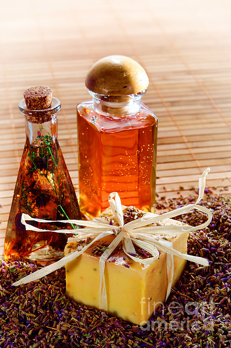 Soap And Fragrance Oils Print by Olivier Le Queinec