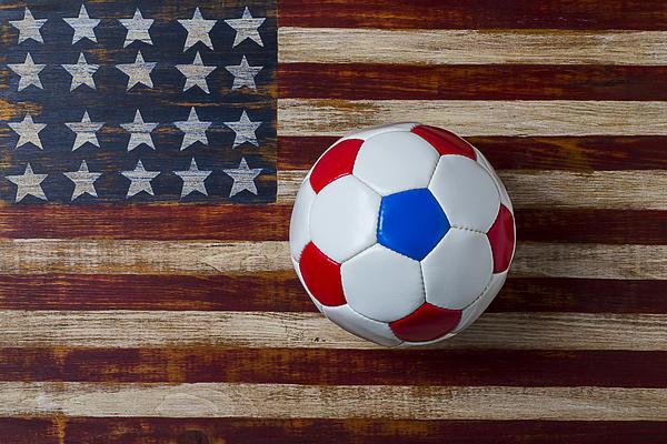 Soccer Ball On American Flag Print by Garry Gay