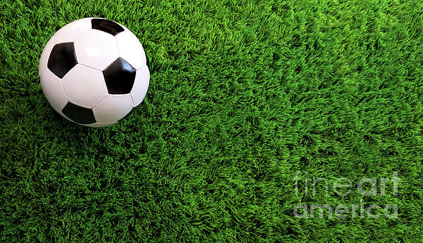 Soccer Ball On Green Grass Print by Sandra Cunningham