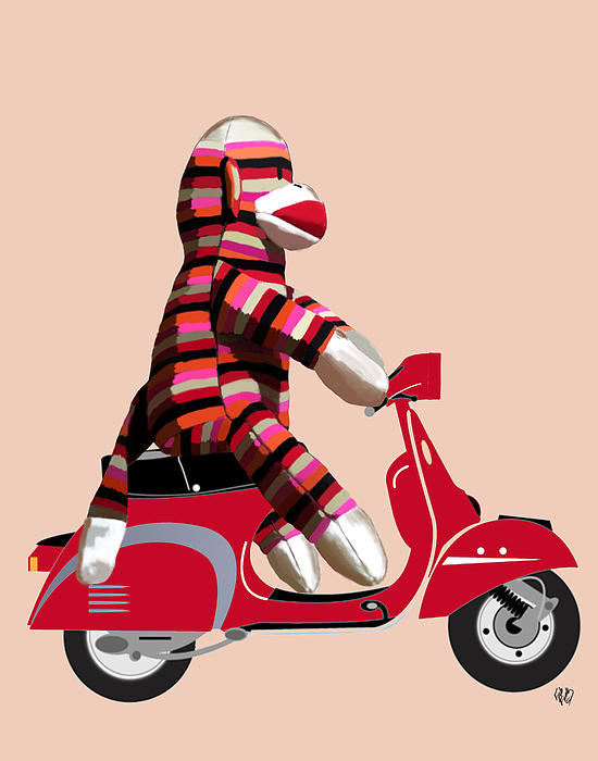 Sock Monkey And Moped Print by Kelly McLaughlan