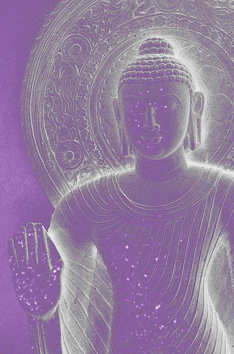 Soft Glow Purple Buddha Print by Sally Rockefeller