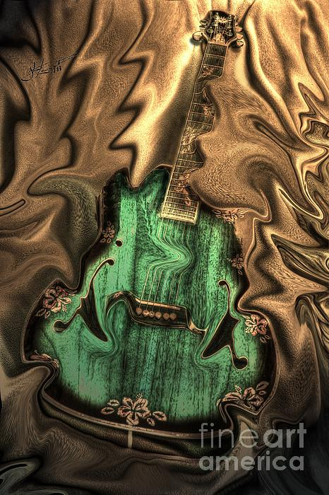 Soft Music Digital Guitar Art By Steven Langston Print by Steven Lebron Langston