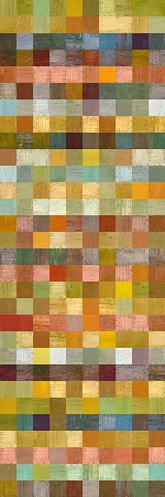 Soft Palette Rustic Wood Series Collage L Print by Michelle Calkins