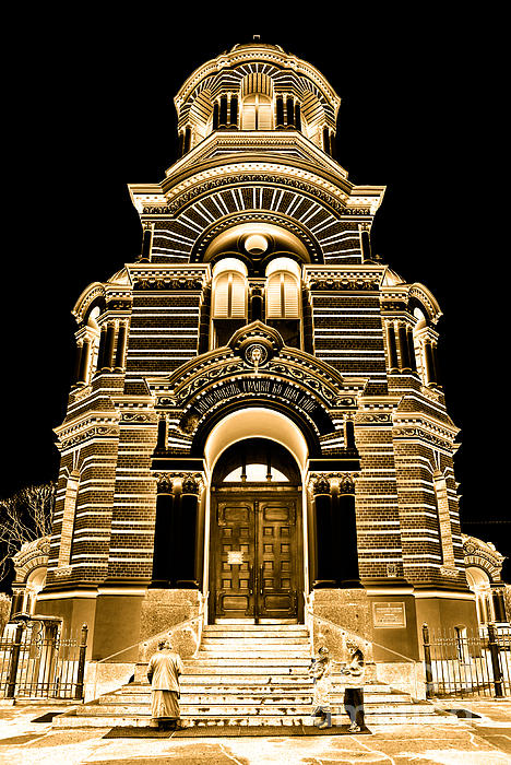 Solar Gold - Nativity Of Christ Orthodox Cathedral - Riga - Latvia Print by David Hill