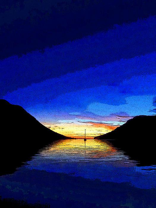 Solitary Sailboat Sunrise Print by Anne Mott
