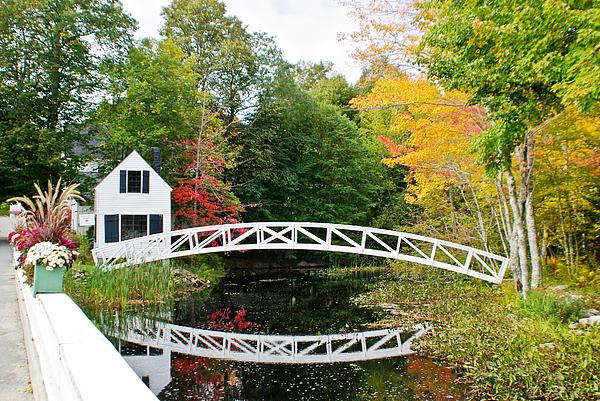 Somesville Bridge In Autumn Print by Debbie Lloyd