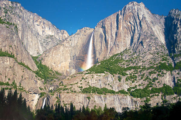 Somewhere Under The Moonbow At Yosemite Falls Print by Steven Barrows