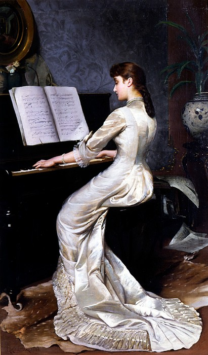Song Without Words, Piano Player, 1880 Print by George Hamilton Barrable