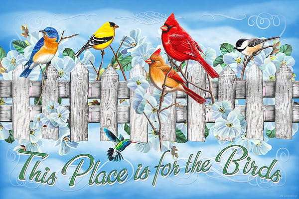 Songbirds Fence Print by JQ Licensing