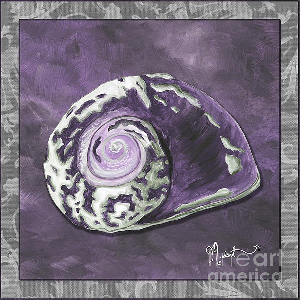 Sophisticated Coastal Art Original Sea Shell Painting Purple Royal Sea Snail By Madart Print by Megan Duncanson