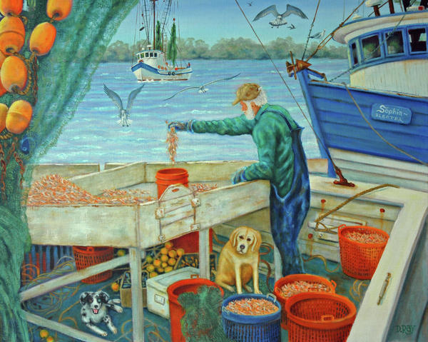Sorting Shrimp At Frogmore Print by Dwain Ray