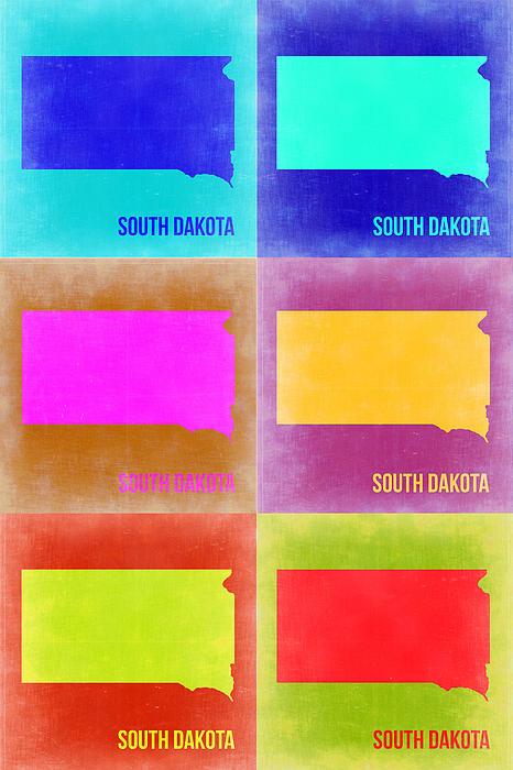 South Dakota Pop Art Map 2 Print by Naxart Studio