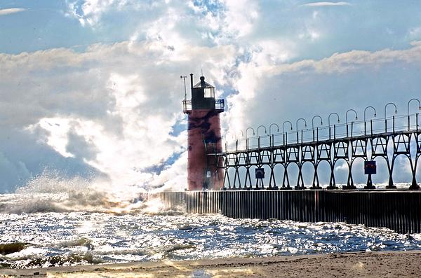 South Haven Lighthouse Print by Cheryl Cencich