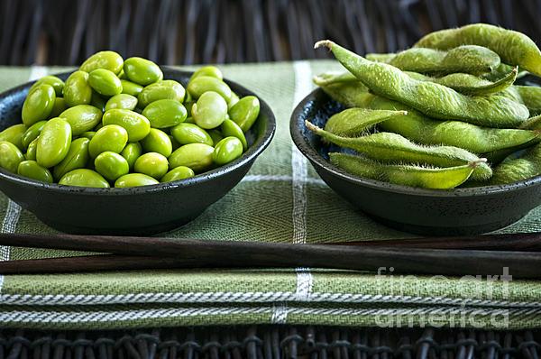 Soy Beans In Bowls Print by Elena Elisseeva