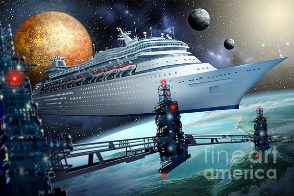 Space Ship Print by Ciro Marchetti
