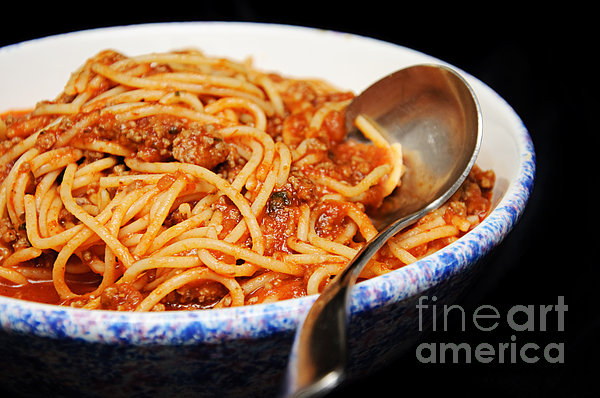 Spaghetti And Meat Sauce With Spoon Print by Andee Design