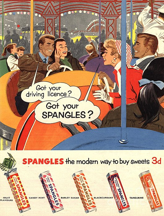 Spangles 1950s Uk Sweets Print by The Advertising Archives