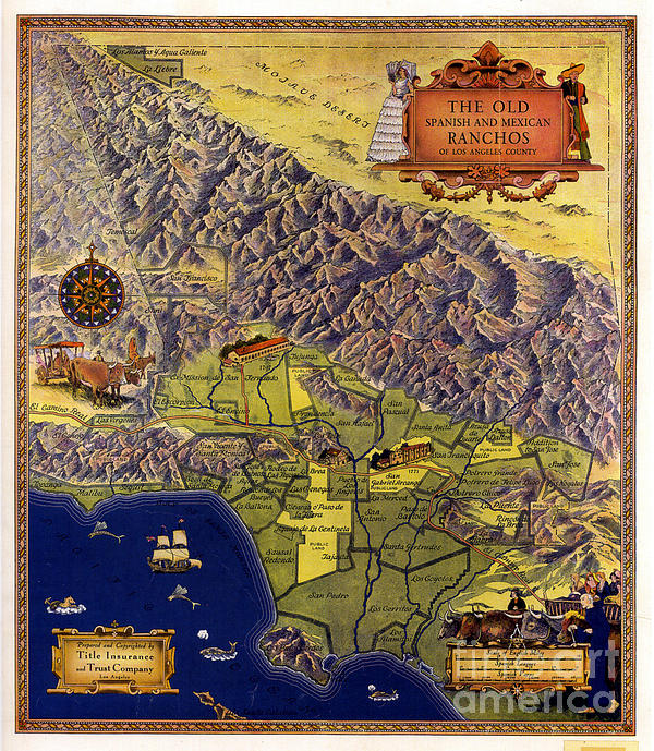 Spanish And Mexico Ranchos Print by Pg Reproductions