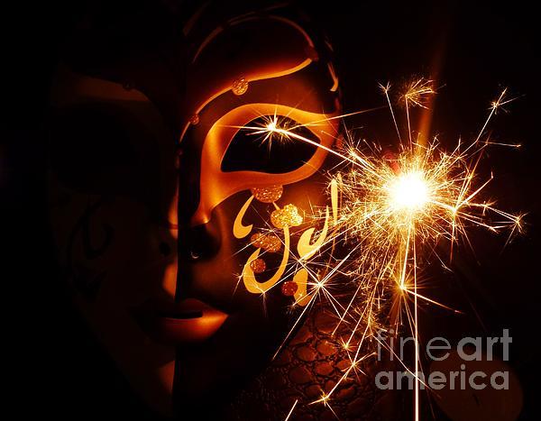 Sparklings Of Venetian Mask Print by AmaS Art