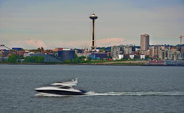 Speedboat In Foreground Of Seattle Wshington Skyline Print by Valerie Garner