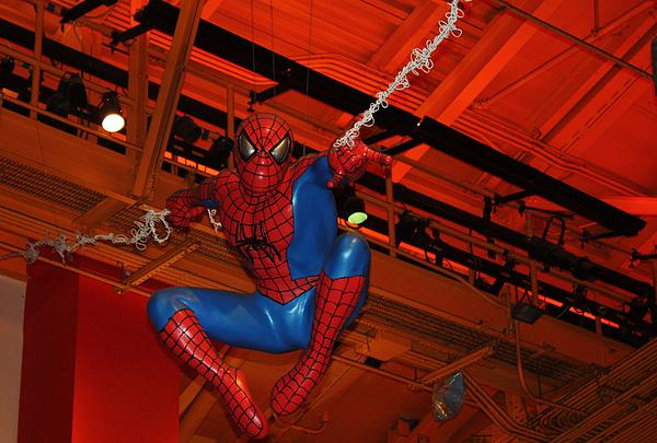 Spiderman Swinging Through The Air Print by John Telfer