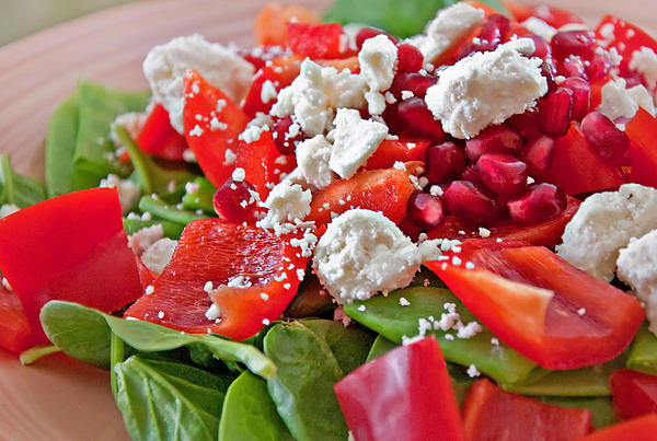 Spinach Salad With Pomegrante Seeds And Feta Cheese Print by Valerie Garner