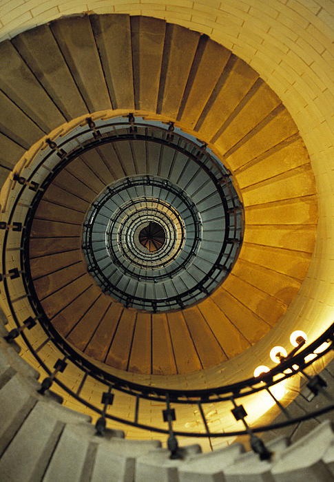 Spiral Staircase In Lighthouse France Print by David Davies