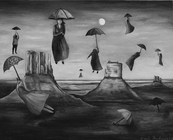 Spirits Of The Flying Umbrellas Bw Print by Leah Saulnier The Painting Maniac