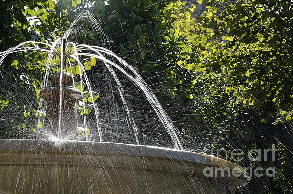 Splashing Water From Fountain Print by Sami Sarkis