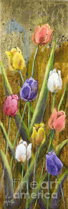 Splashy Tulips II With Gold Leaf By Vic Mastis Print by Vic  Mastis