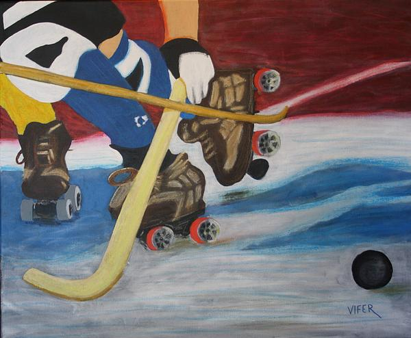 Sports Hockey-3 Print by Vitor Fernandes VIFER