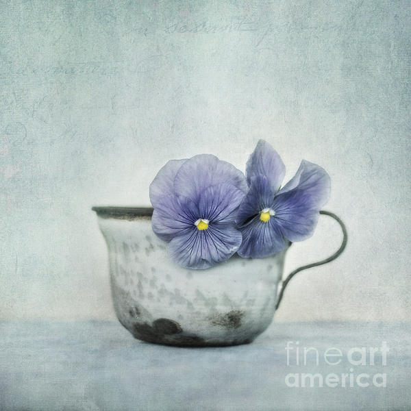 Spring Blues With A Hint Of Yellow Print by Priska Wettstein