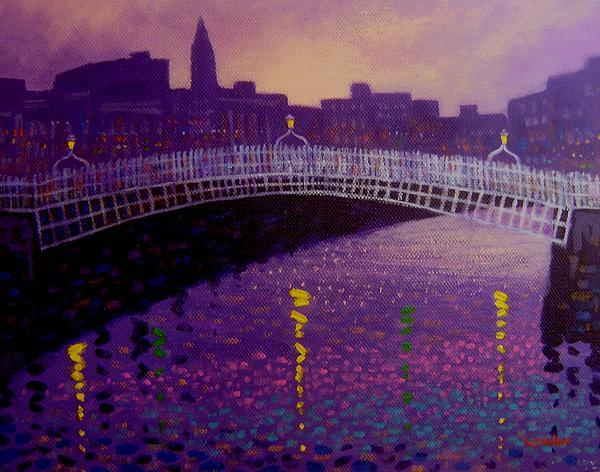 Spring Evening Ha Penny Bridge Dublin Print by John  Nolan