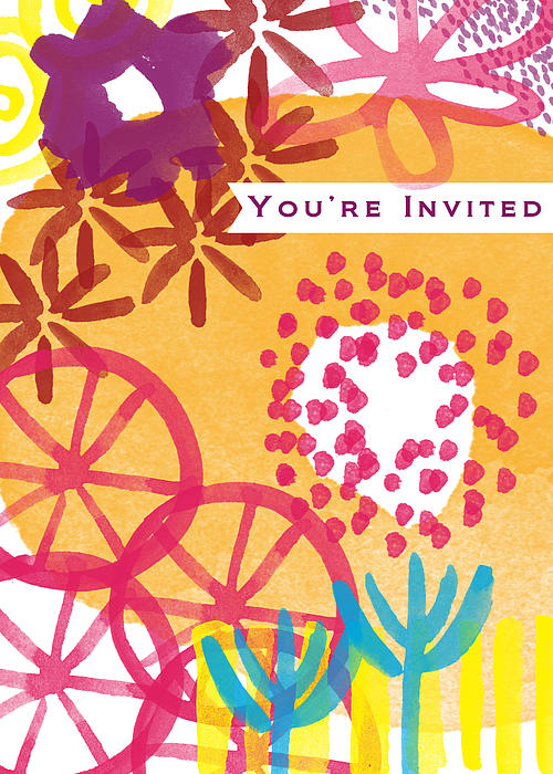 Spring Floral Invitation- Greeting Card Print by Linda Woods